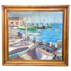 "Large Gloucester Rockport Harbor Painting Cape Ann School Boats c1930 25""x28"""