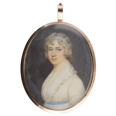 Georgian Miniature Portrait of a Woman in Gold Frame with Blue Glass and Hair Reverse