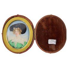 c1820s Miniature Portrait of Woman in Green with Large Hat