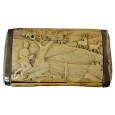 19th Century German Hand Carved Stag Horn Snuff Box Hunt Scene Lid