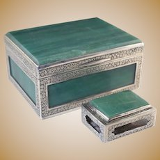 Vintage Chinese Sterling & Green Aventurine Stone Cigarette and Match Box Set