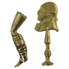 2 Antique English Brass Pipe Tampers Leg w/Boot & 18thC Gentleman Profile Man