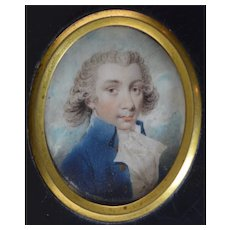 c1770 Miniature Portrait of a Gentleman with Powdered Wig and wearing a Blue Frock Coat