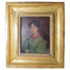 "Antique French Miniature Portrait of a Lady in Green Signed ""Lefevre 1830"""