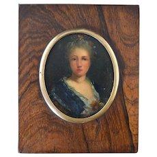 Miniature Portrait 18th Century Oil on Copper Lady Blue Dress & Flowers in Hair