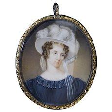 Miniature Portrait American Lady c1820s Locket w/Hair