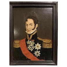 Napoleonic War Prussian General Officer Portrait Oil on Board Painting Soldier Uniform