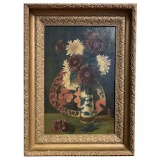 Antique American Still Life Chrysanthemums Chinese Vase/Fan Floral Painting 1906