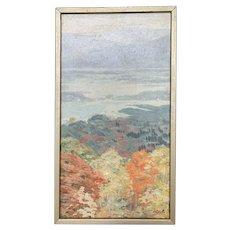 """Hilda DeShazo (1907-1979) """"Autumn Mist"""" Paling Valley NY Landscape Painting"""