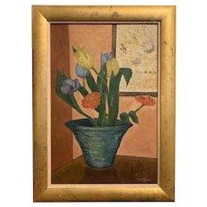 Louisa Winslow Robins (1898-1962) Still Life Flowers 1930 Modernist Painting