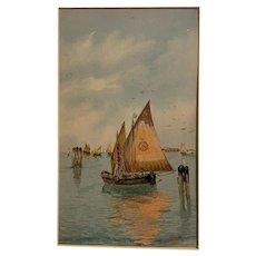 Antique Venetian Boat Watercolor Painting Signed Italian