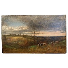 Antique 19thC English Landscape Painting w/Cows & Figure... Ominous Clouds!