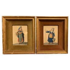 18th-19th Century Watercolor Portraits Women in Neapolitan Costume European