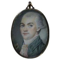 c1770 Georgian Miniature Portrait of a Gentleman wearing a Green Frock Coat English