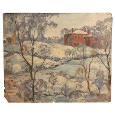 Thomas Stretto Esten (1913-1942) Impressionist Winter Landscape Boston MA