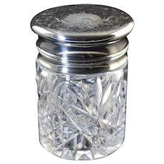 Antique La Pierre Sterling & Cut Glass Vanity Jar with Hinged Lid & Stopper