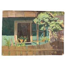 Vintage Impressionist Painting Cottage Fence Garden Flowers Open Window
