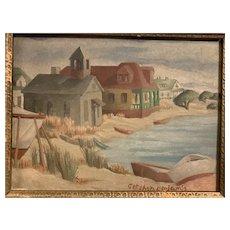 Gershon Benjamin (1899-1985) Original Painting Modernist Coastal Scene NYC Artist Milton Avery Connection