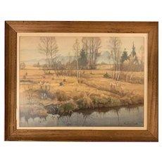Rudolf Sieck (1877-1957) German Original Watercolor Landscape Painting