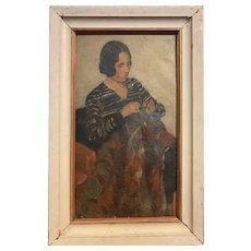Wonderful c1920 Ashcan School Portrait of Woman Sewing Cincinnati Estate