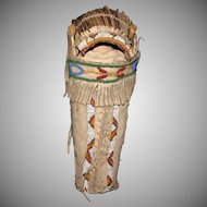 Vintage beaded leather Indian doll cradle board papoose