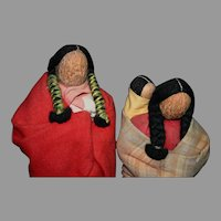Rare Native American Vintage English Walnut head North Dakota figures dolls