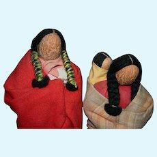 Rare Native American Vintage English Walnut head North Dakota figures