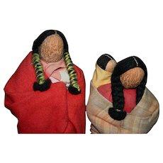 Rare Native American Vintage English Walnut head North Dakota figures dolls