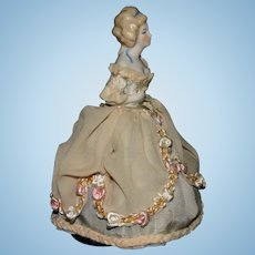"Vintage German 6.5"" half doll bisque porcelain beauty"