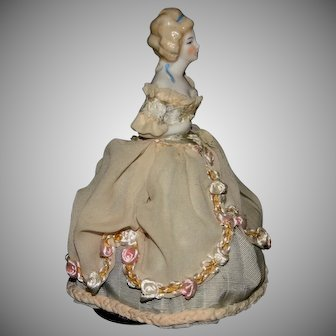 "Vintage German 6.5"" half doll bisque porcelain beauty"