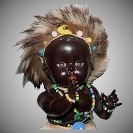 Vintage African celluloid jointed doll all original