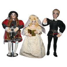 Vintage Rare English cloth dolls Henry VIII Ophelia Hamlet by the Ottenbergs1950's