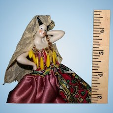 German bisque half doll original dress Spanish Belle