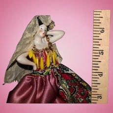 German bisque half doll original dress Spanish Belle