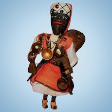 Vintage leather wood African tradesman doll figure