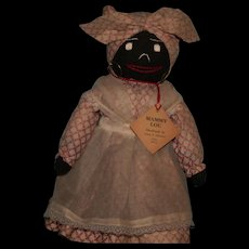 Vintage 1940's black cloth Mammy Lou doll by Anna T.Scruggs Dunnam