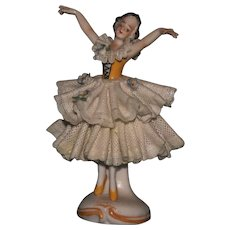 """4"""" China marked bisque Dresden figurine lady EXC - Red Tag Sale Item"""
