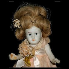 "6"" Japan all jointed bisque doll human hair"