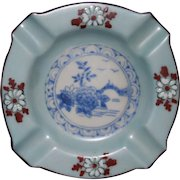 Occupied Japan transfer wear and hand painted ash tray Excellent pale blue