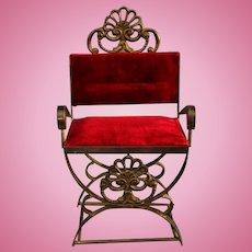 Vintage large brass Red velvet doll chair