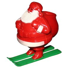 Vintage celluloid Santa candy container Rosbro plastic