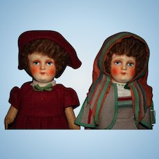 Pair of Lenci type  cloth 1930's dolls