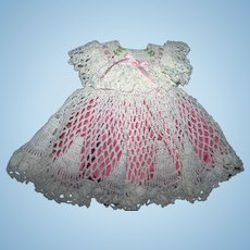 Exquisite crocheted embroidered  doll dress