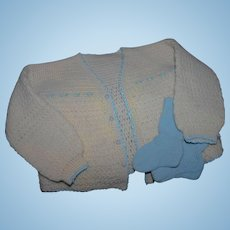 Large Knit sweater blue booties