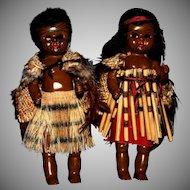 """HP 8"""" tribal art New Zealand Maori dolls"""