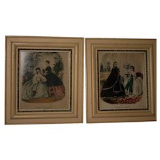 Pair of Leroy IMP Paris hand colored early 1900's original prints & frames