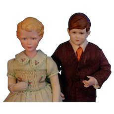 Extremely rare Martha Darwin Thompson portrait dolls Princess Anne & Prince Charles 1955