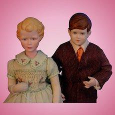 Extremely rare Martha Darwin Thompson portrait dolls Princess Anne & Prince Charles 1955