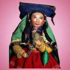 Vintage Peru regional lady doll 1940's