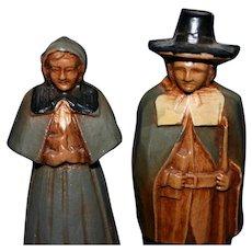 1948 Boston miniature figurines of Pilgrams John & Priscilla Alden